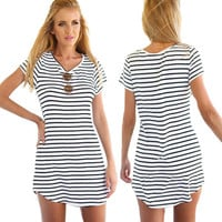 Short Sleeve Striped Loose T-Shirt Mini Dress