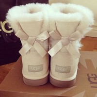 UGG Fashion Women Bow Flats Leather Wool Snow Boots Shoes