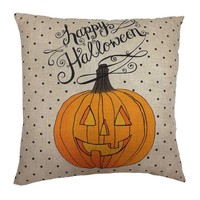 Happy Halloween Pumpkin Throw Pillow (White)