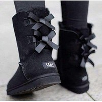 UGG Winter Trending Women Stylish Two Bowknot Shoes Boots Half Boots Shoes Pink I/A