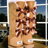 UGG Selling Classic Short Snow Boots Casual Three Bowknot High Top Warm Boots Shoes