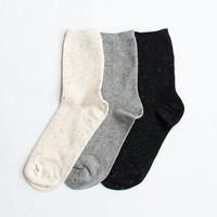 Women New Must Have Hezwagarcia 3 Mono Tone Bocasi Colorful Threads Basic Essential Set Cotton Ankle Socks