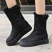 FENDI Winter Fashion Women F Letter Warm Wool Thick Sole Snow Boots Shoes