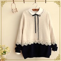 Two-Tone Lace Trim Pullover