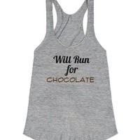 Will Run for Chocolate-Female Athletic Grey Tank