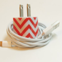 Decorated IPhone 5 Charger with Personality- Pink Chevron