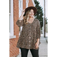 Rebecca Animal Print Babydoll Top, Brown/Tan | Extended Sizes Available