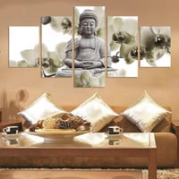 Modern Buddha Painting 5 Picture Home Decoration marble buddha and banboo landscape art canvas (Unframed) Art Picture