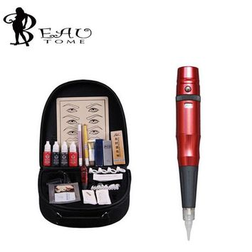 ac NOOW2 Beautome New Embroidery Permanent Makeup Machine Kit 3D Cosmetic Eyebrow Tattoo Gun Quality Permanent Tattoo Airbrush Kit Red