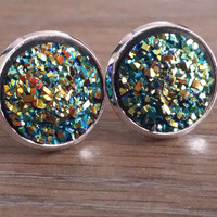 Druzy earrings- Green Rainbow drusy silver tone stud druzy earrings
