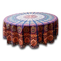 Cotton Sanganer Peacock Mandala Round Tablecloth 72 inches Blue Green Red Beige