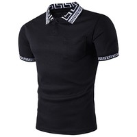 New Brand Summer Men's Polo Shirt For Men Cotton Turn Down Collar Printed Short Sleeve Casual Dress Shirt Polos Tops 1318B43