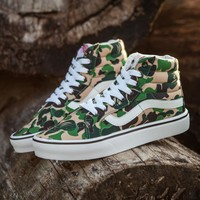 Sale BAPE x Vans Old Skool Custom Dark Camo Green Camouflage Mid Sneakers Convas Casual Shoes-1
