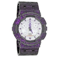 Custom G-Shock GD100A-7A Watch Analog Purple Simulated Diamonds  52 MM