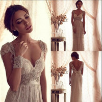 2017 Sexy Anna Campbell Backless Wedding Ball Gowns Cheap Beach Wedding Dresses Beads Capped Sleeves Vintage Wedding Dresses