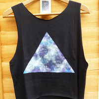 Galaxy Triangle, Dipped Hem Vest Ladies Summer Crop Top Vest Oversize