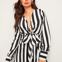 Striped Print Tie Front Blouse
