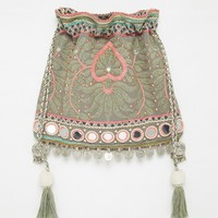 Star Mela Embroidered Across Body Bag with Metal Disc Tassel Trim