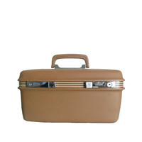 Vintage Samsonite Train Case Brown Suitcase Beauty Cosmetic Luggage with Striped Concord Design