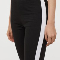 Cotton Jersey Cycling Shorts - Black/side stripes - Ladies | H&M US