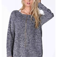 Danica Marled Button-Back Sweater