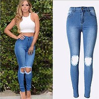 2016 Jeans for women high waist Ripped jeans Skinny Hole Denim Pencil Pants Stretch jeans women Plus Size Femme Women's