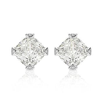 A Flawless Princess Cut Geometric Belgium Lab Diamond Stud Earrings