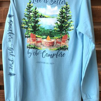 """Southern Girl Prep  """"Life is better by the campfire"""" Long Sleeve T-shirt"""