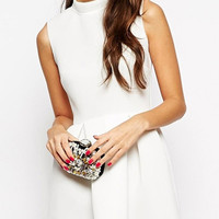 White Closed Neck Sleeveless Mini Dress with Pleated Skirt