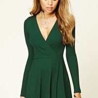 Ribbed Knit Surplice Dress