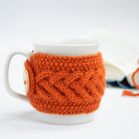 Cup Cozy in Orange, Knitted Mug Cozy, Coffee Cozy, Tea Cup Cozy, Handmade Wooden Button, Coffee Cozy Sleeve, Warmer, Fall, Autumn, Gift