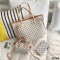 LV Classic Checkerboard Women's Shopping Bag Coin Purse Pillow Bag Three Piece Set