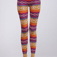 Women Sexy Aztec Tribal Print High Waist Stretch Cotton Leggings Ankle Tights