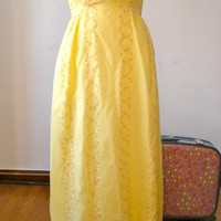 25% off SALE SALE 70s Floral Maxi Dress in Yellow, Pink, and White - M