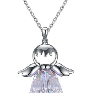 Artificial Crystal Sterling Silver Angel Pendant Necklace