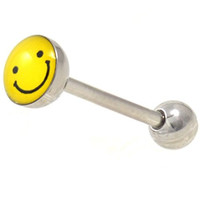 """7MM Yellow/Black Smiley Happy Face Tongue Ring Steel Barbell - 14 Gauge 5/8""""(16mm)"""