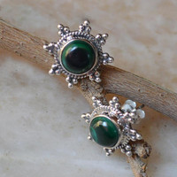 Green Malachite Earrings with Sterling Silver Studs,8mm Cabochon Gemstones,Malachite earrings,Silver Stone boho earring,holiday gift for her