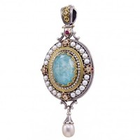 Gerochristo 3282N ~ Solid Gold & Sterling Silver Medieval Multi-Stone Imperial Oval Pendant