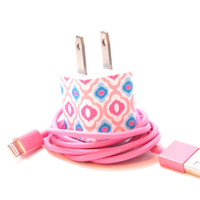 Pink and Blue Charm iPhone Charger with Color USB by PersonalPower