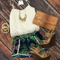 Lace Crop Top: Ivory