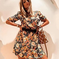 Elegant Women Floral Dress New Seven Quarter Sleeve Mini Party Dress Vintage Mini Dress Female