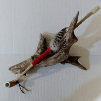 Deer Antler Peace Pipe Handmade Genuine Suede Leather Feathers Native American Decor