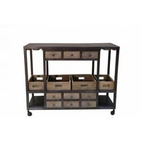 Vincent Metal and Wood Bar Cart with Removable Trays by Home Accents Gallery SB009