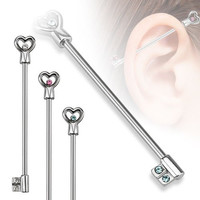 Heart Key with CZs Industrial Barbell 316L Surgical Steel - Choose your color (Clear)
