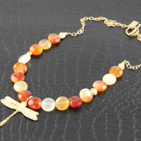 Gold-Filled Carnelian Gemstone Dragonfly Necklace