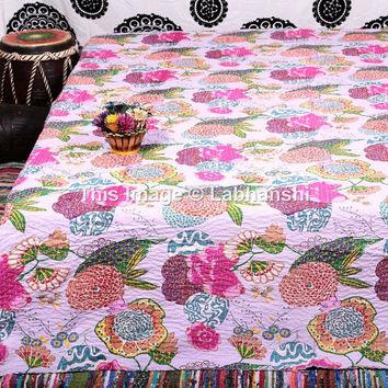 Queen Kantha Quilt, Kantha Blanket, Queen Bed Cover, Queen Blanket, Indian Bedspread, Queen Kantha bedspread, Bohemian Bedding Kantha Throw