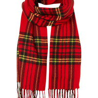 Red Tartan Scarf - Shoes & Accessories - Latest Trend  - Clothing