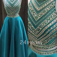 Green sequin 2 pieces long prom dresses, formal dress