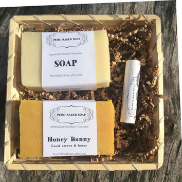 Soap gift basket, you choose soap, lip balm, handmade, organic, natural, essential oil or unscented soap, holiday gift, fall gift