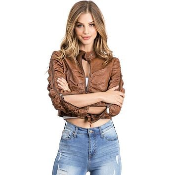 Allie Crop Moto Jacket